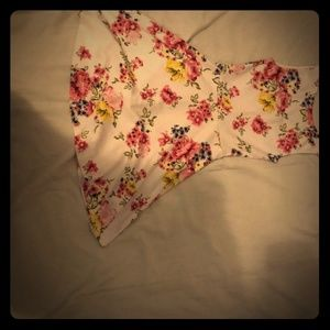 Casual short mini flower v cut back dress from H&M